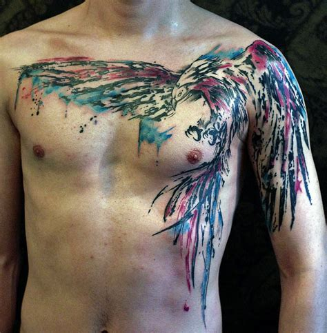 phoenix chest tattoo 53 colorful watercolor tattoos