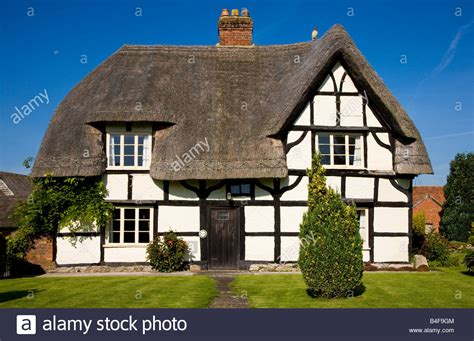 front cottages front view of a typical thatched timber framed