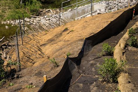 Straw Landscape Matting - erosion elements applied to the slope landscaping