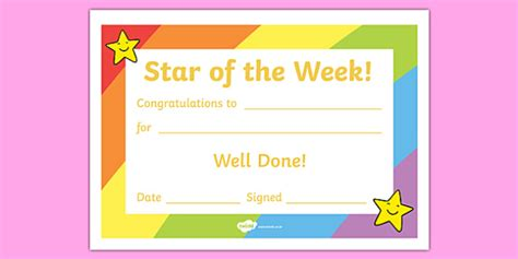 Star of the Week Award Certificate   Star of the week