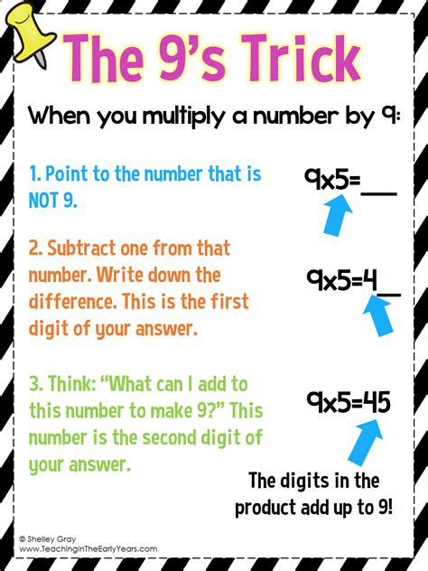 the 9 s trick for multiplication tpt free lessons