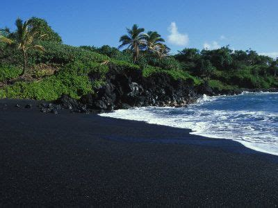 black sand island black volcanic sand beach on hawaiis canvas print canvas