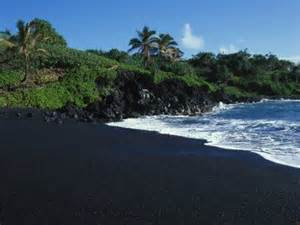 black sand beach big island black volcanic sand beach on hawaiis canvas print canvas