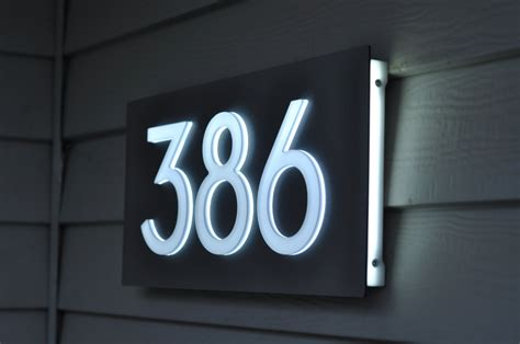 light up address plaque luxello illuminated modern house numbers in blue led