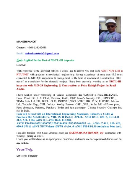 Ndt Inspector Cover Letter by Cover Letter Of Mahesh Pandit For Ndt L Iii