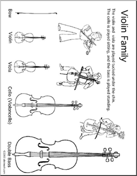 String Worksheets - coloring page violin instrument family abcteach
