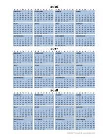 3 Year Calendar 2018 Three Year Calendar Template 2016 To 2018 Free Printable