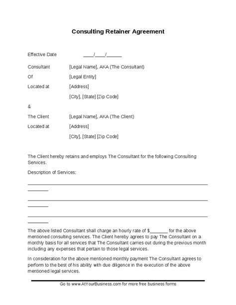 Download Consulting Retainer Template Bonsai Simple Fee Agreement Template