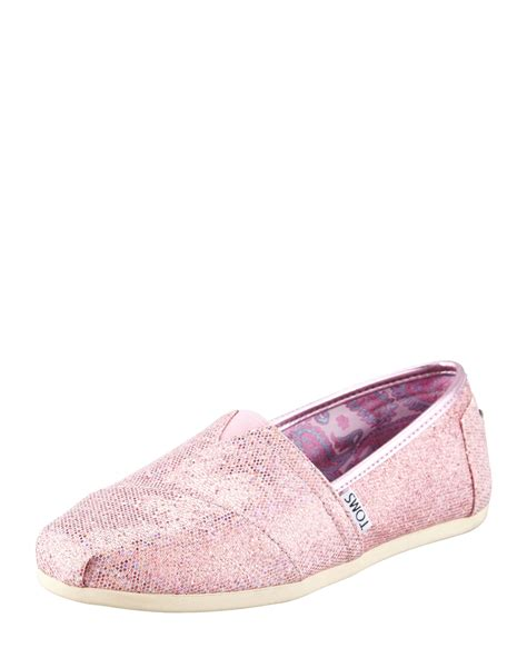 toms womens pink glitter slip on poshoes