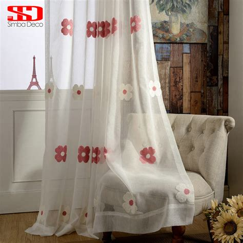 white curtains with red flowers white tulle curtains for living room kids room girls red