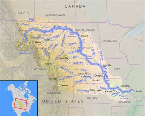 map of usa missouri river missouri river american rivers