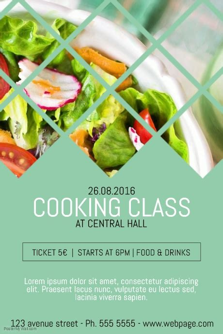 cooking classes class course flyer template postermywall