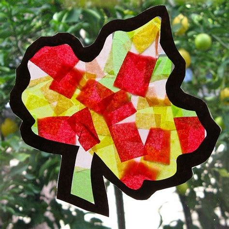 Tissue Paper Leaf Craft - tissue paper fall leaf and crafts class ideas