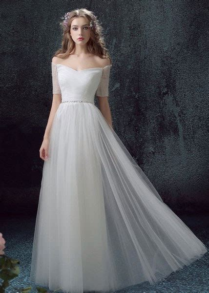Light Wedding Dresses by Light Weight Tulle Sheath Wedding Dress With Sleeves