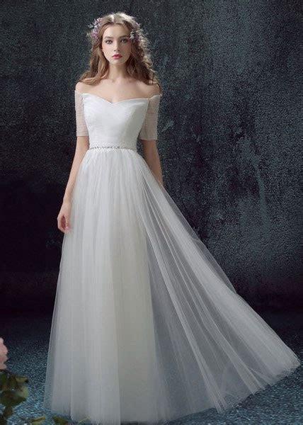 light wedding dress light weight tulle sheath wedding dress with sleeves
