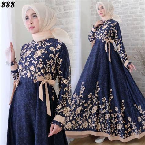Dress Salur Abstrak Navy Terusan Maxi Dress Terusan Dress Wanita maxi dress maxmara c888 gamis modern