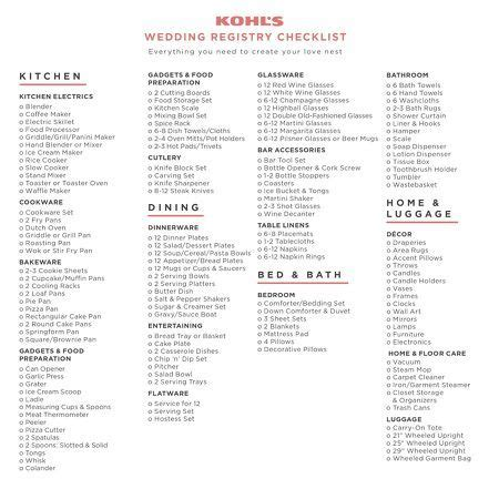 printable checklist for wedding registry kohl s wedding registry checklist everything you need to