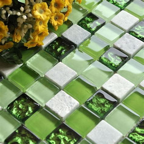 Stone and Glass Mosaic Tiles Square Green Bathroom Glass