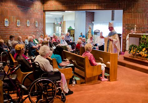 bishop visits catholic centered nursing home today s
