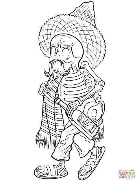 da de muertos dibujos dibujo de esqueleto con poncho y sombrero del d 237 a de los