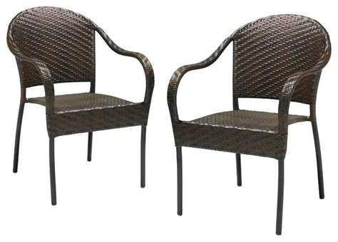 Contemporary Patio Chairs Rancho Outdoor Brown Grey Wicker Stackable Chairs Set Of 2 Brown Contemporary Outdoor