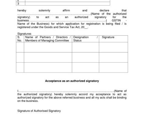 authorization letter format for gst gst authorized signatory format archives consultease