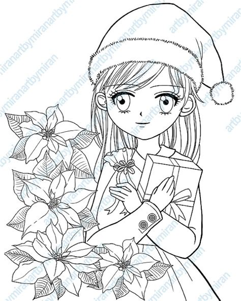 anime coloring coloirng book anime style gift for anime lover books digital st poinsettia and coloring by