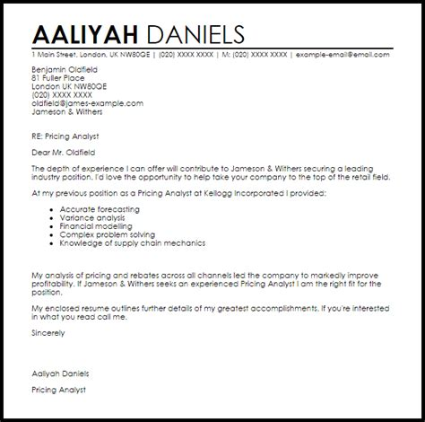 Letter With Pricing Pricing Analyst Cover Letter Sle Livecareer