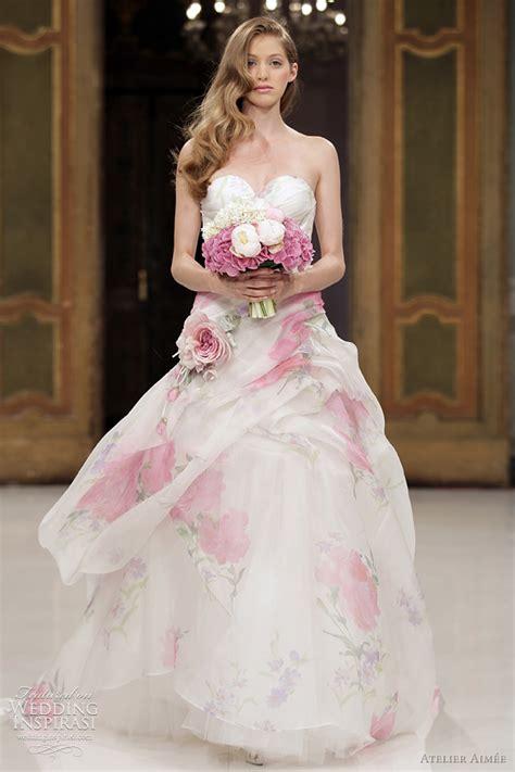 flowery wedding dresses beautiful floral print wedding dress on