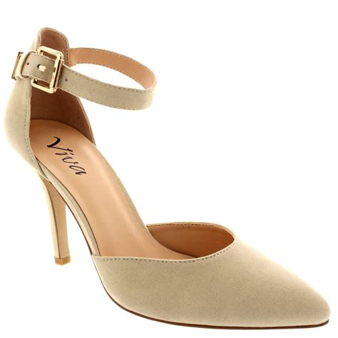 1053 Shoes Mid Heels Beige womens ankle low mid heel office work court shoes