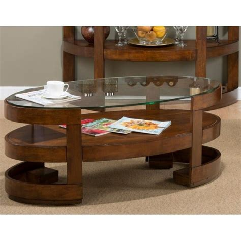 jofran avon oval wood coffee table in birch 348 1