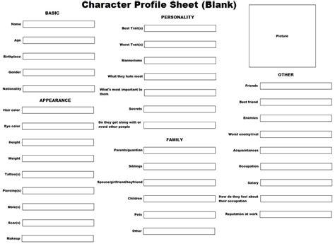 character profile sheet blank by kittensangel on deviantart