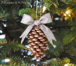 lines across gilded pine cone ornaments