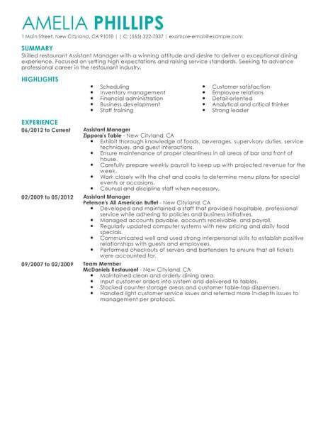 restaurant bar manager resume exles best restaurant assistant manager resume exle livecareer