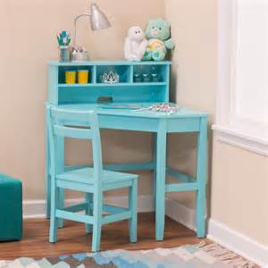 Children S Corner Desk Classic Playtime Juvenile Corner Desk And Reversible Hutch With Chair Teal Desks At