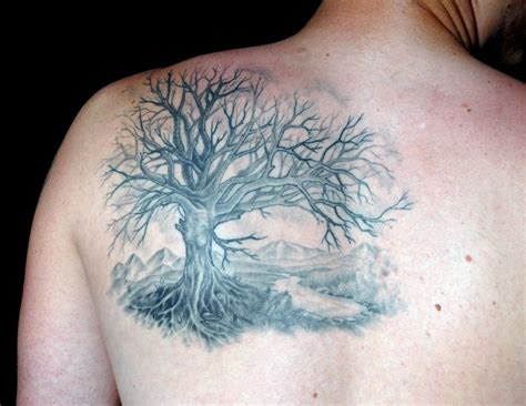 tree tattoo for men s shoulder black tree tattoomagz