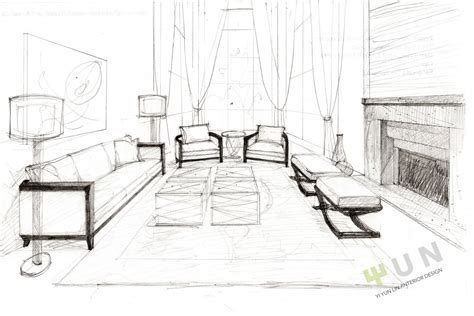 interior designs clipart sketch living room pencil and
