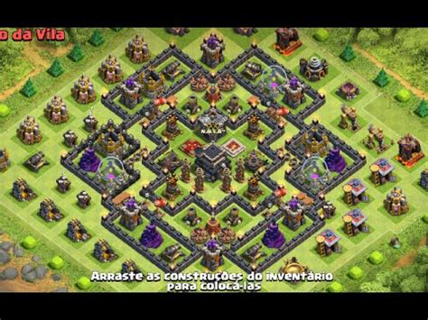 layout cv9 war youtube clash of clans layout de guerra cv9 anti 3 estrelas