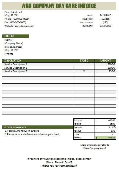 Daycare Invoice Template 27 day care invoice template collection demplates