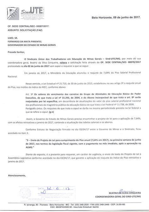 reajuste veio com o envio do projeto de lei do orcamento da uniao de sind ute mg cobra do governador o envio do projeto de lei
