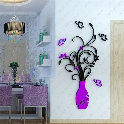 Red Wall Art Stickers new removable acrylic 3d flower vase wall sticker purple red wall art