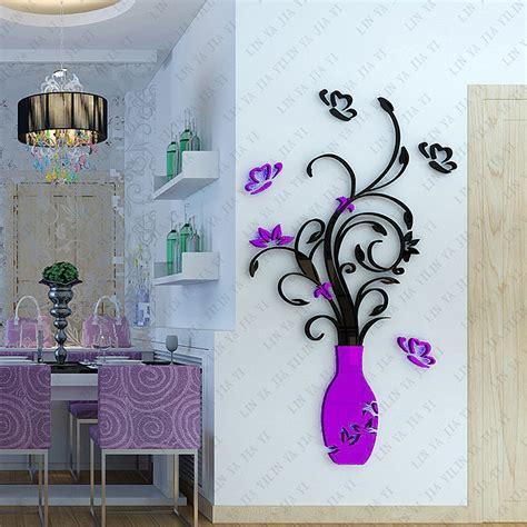 new removable acrylic 3d flower vase wall sticker purple acquista all ingrosso online red design camera da letto da