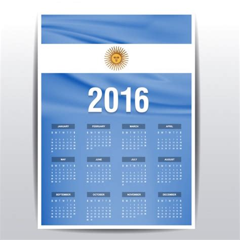 Calendario Argentina Calendario De 2016 De Bandera De Argentina Descargar
