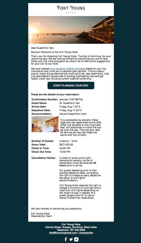 confirmation email from fort young hotel dominica