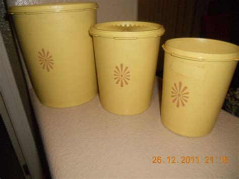 vintage tupperware yellow canister set 3 with servalier
