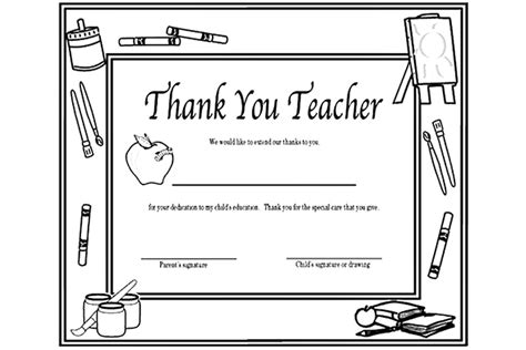 printable thank you cards to color for teachers free printable coloring thank you cards for teachers