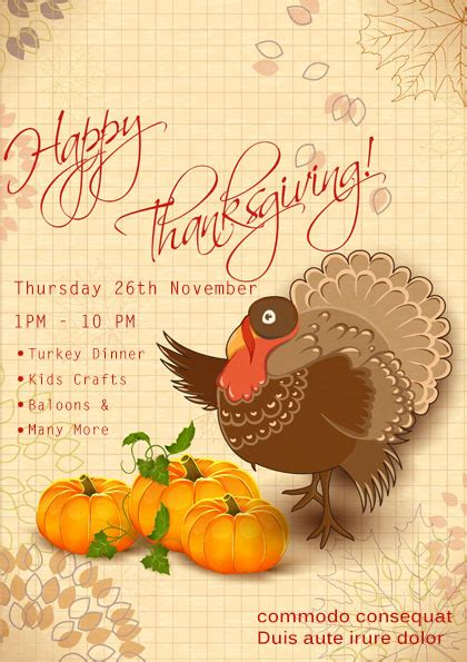 23 Free Thanksgiving Flyers Psd Word Templates Demplates Thanksgiving Flyer Template Free