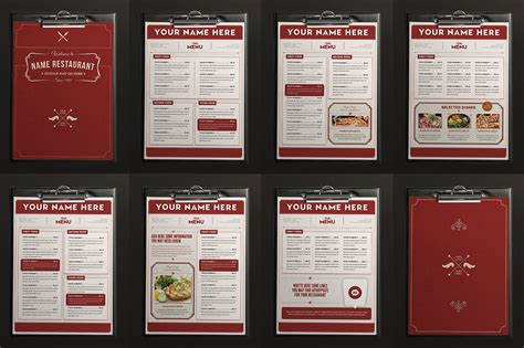 classy food menu 2 brochure templates on creative market
