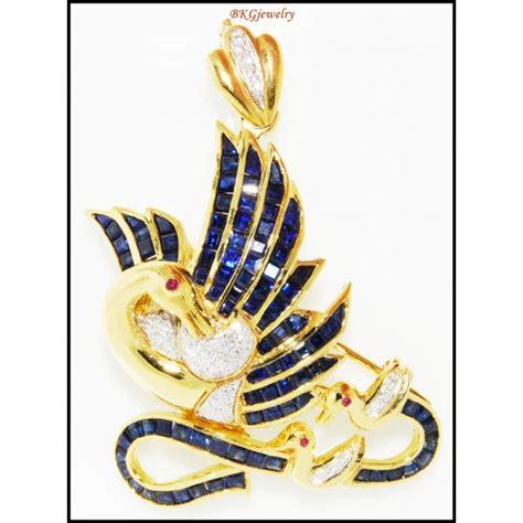 Blue Sapphire Sapire 008 swan brooch pendant 18k yellow gold blue sapphire