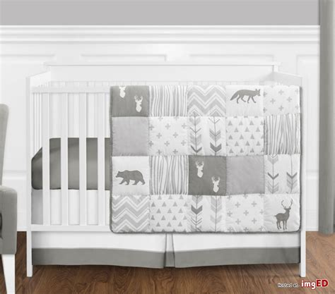 Woodland Animals Crib Bedding Sweet Jojo Gray White Woodland Animal Baby 4p Crib Bedding Set Without Bumper Image On Imged